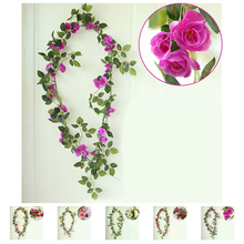 Artificial Silk Rose Flower Ivy Vine Green Leaf Hanging Garland Home Wedding Party Decor(China)