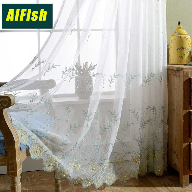 Korean Garden Embroidery Curtain Sheer Tulle Beaded Yarn White Yarn for Living Room Bedroom windows Wild Home Decoration WP268&3