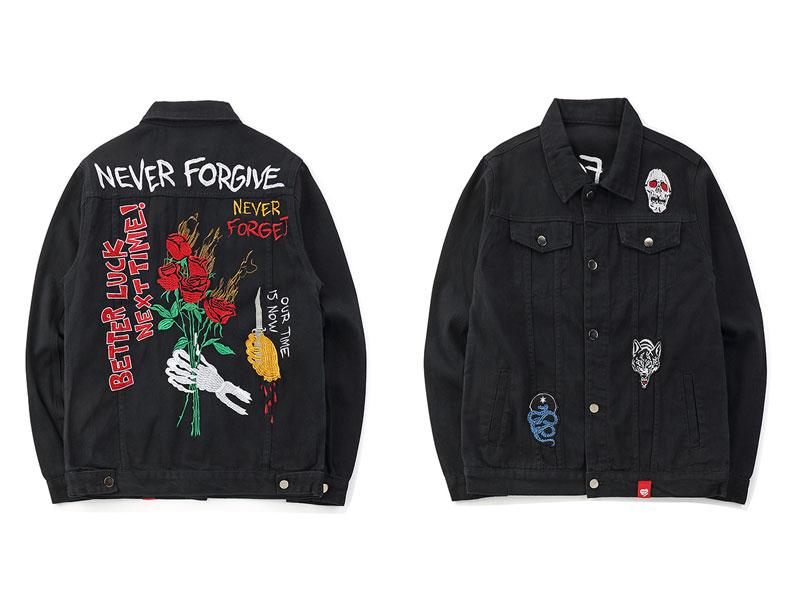 Embroidery Rose Skull Denim Jackets 1