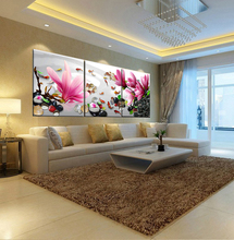 2017 Top Fashion Hot Sale Oil Painting Flower Cuadros Decoracion Modular Pictures 3 Pcs Wall Art Canvas Pictures For Living Room(China)