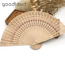 Free Shipping Wholesale 50pcs/Lot Bamboo Wooden Fan Fragrant Folding Hand Held Fan Pocket Fan Wedding Party Favors Gift