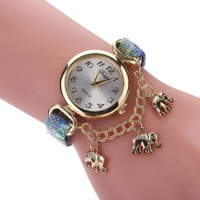 n Wrist watches for Women Buckle  Round Elephant Pendant Quartz Watch Leather Exquisite little leather belt wristwatch