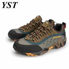 Big size 2017 Genuine leather athletic shoes hiking boots men waterproof  breathable women mens sport outdoor shoes HW78