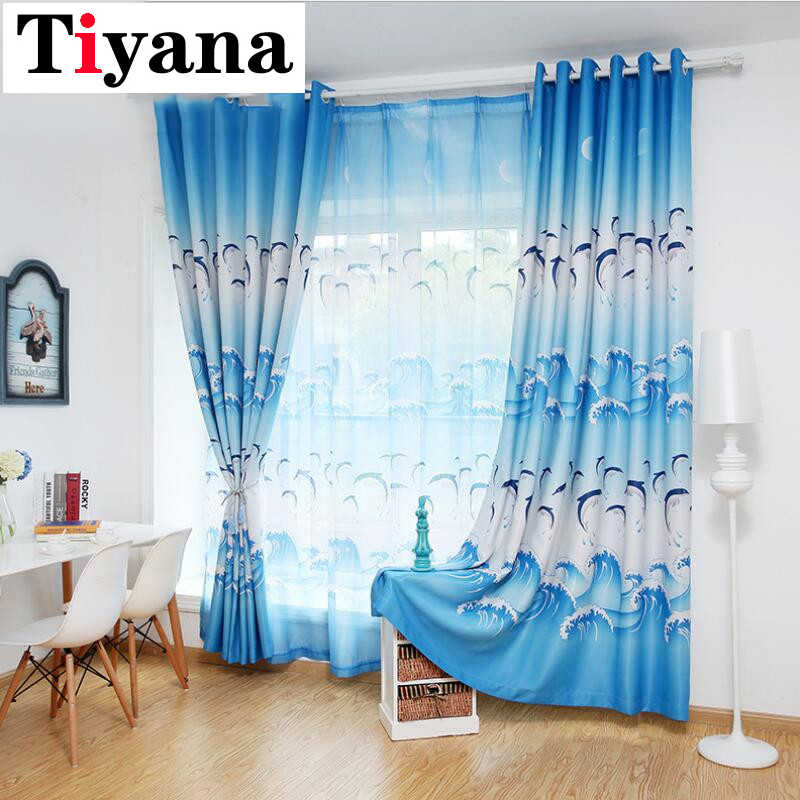 Tiyana Cartoon Blue Dolphin Curtains For Living Room Blackout Cloth Purple Tulle Curtais For Boys Girls Kids Bedroom HP067X