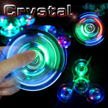 Colorful Crystal Clear LED Spiner Fidget Flash Light EDC Spinner Plating Spiner Hand Cool Spinner Toy For Stress Autism ADHD Kid(China)