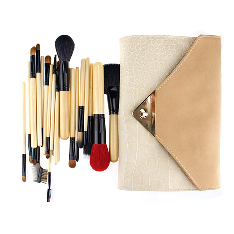 New 22Pcs Makeup Brushes Professional Set With Case Original Wooden Foundation Brush Mink Goat Hair Cosmetics Brushes For Face<br><br>Aliexpress
