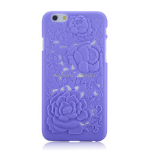 3D Sculpture Rose Flower Carving PC Hard Back Cover Case for Apple iPhone 6 iPhone6 4.7 inch(China)