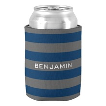 Romantic Couple Bee Cooler Navy Blue and Gray Rugby Stripes Name Number Can Cooler Customized Valentines Anniversary Gift Favors