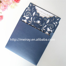 Laser cut navy blue pearl paper in crafts  invitations lace wedding card with matching blank inner card and envelope