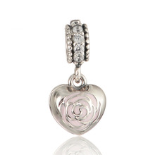 Fits Silver Charms Bracelet 925 Sterling Silver Beads Rose Heart Charm Love Mother & Friend Dangle Charm DIY Jewelry Making