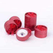 100pcs Round Ring Boxes Valentines Day Presents Packages , DarkRed, 5.4x3.5cm(China)