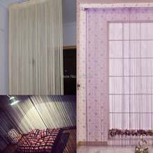 200CM x 100CM Solid Line String Curtain Window Blind Room Tassel Door Divider Scarf Valance Curtains For Living Room Decorative(China)