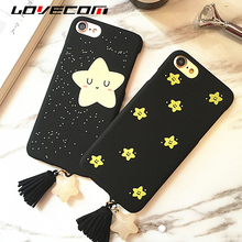 LOVECOM Shining Stars Cute Little Star Tassels Pendant Cases For iPhone 6 6S 7 Plus Back Cover PC Hard Scrub Thin Capa Shell