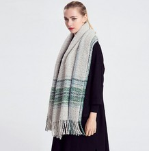 Fashion women's scarf patchwork striped mohair scarf muffler female winter all-match cape 200*70cm