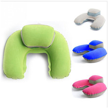 New Portable Travel Pillow Inflatable Neck Pillow U Shape Blow Up Comfortable Neck Cushion PVC Flocking Pillow for Flight Travel