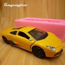 3D Yellow Sports Car Cake Mold Silicone Mold Chocolate Gypsum Candle Soap Candy Mold Kitchen Bake Free Shipping(China)