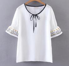 National wind cuffs embroidered sunflower white  shirt top mori girl
