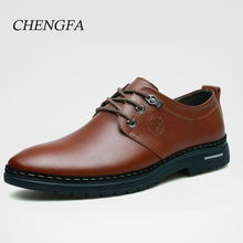 Genuine Leather Shoes male homme men's Casual 2017 Autumn Men Oxford Fashion Lace Up formal Dress Shoes Men Outdoor Work Sapatos(China)