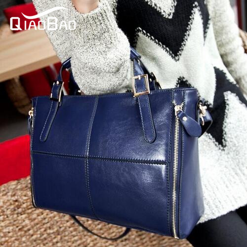 QIAOBAO 2017 Europe Newest Stitching Natural Cowhide Leather handbags wholesale fashion leather shoulder bag Messenger bag<br>