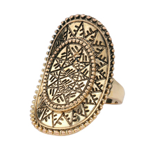 Vintage Punk Rock Ring Ancient Gold Color Charms Oval Sun God Decorative Pattern Lucky Gift Women Jewelry