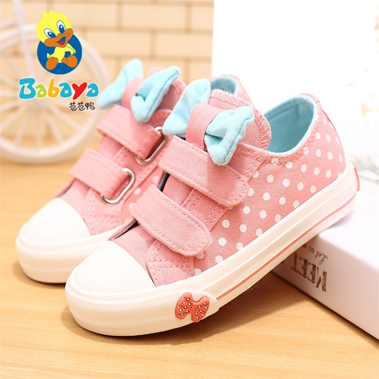 2015 BABAYA fashion polka dots butterflyknot low top casual flat cute girls tenis canvas princess infant Children sneakers shoes<br><br>Aliexpress