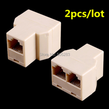 2x Portable RJ45 Two Way Splitter Connector CAT5 CAT6 LAN Ethernet Splitter Adapter 8P8C Network modular plug for laptop HY205*2