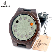 BOBO BIRD 2016 Unique Green Wood Watch 12 Wholes Real Leather Band Bamboo Wooden Quartz Watch Reloj Mujer In Gift Box