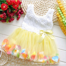 Sweet Newborn Baby Infant Crib Party Dresses Flower Girls Princess Dresses Kids Beautiful Baby Tutu Dress Summer Wear 7Colors(China)