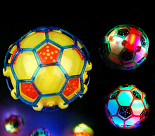 10CM LED Light Jumping Ball Kids Crazy Music Football/ bouncing ball / dance ball / football Children's Funny Toy Christmas gift(China)