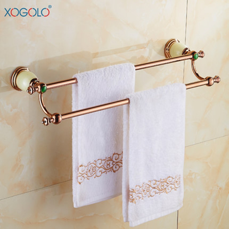 Xogolo Fashion Elegant Rose Gold Solid Copper Double Towel Bars Bathroom Towel Holder Wall Towel Rack Accessories Good Quality<br>