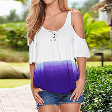 Hot Summer Cheap Clothes Women Backless Shirts Tops Loose Gradient Printing Sexy T-shirt Female Strap Bow Off Shoulder T-shirts(China)