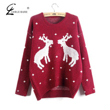 CHRLEISURE Winter Deer Christmas Sweater Women Poncho Fashion Elk Knitted Pull Femme Women Sweaters and Pullovers 2017 5 Colors