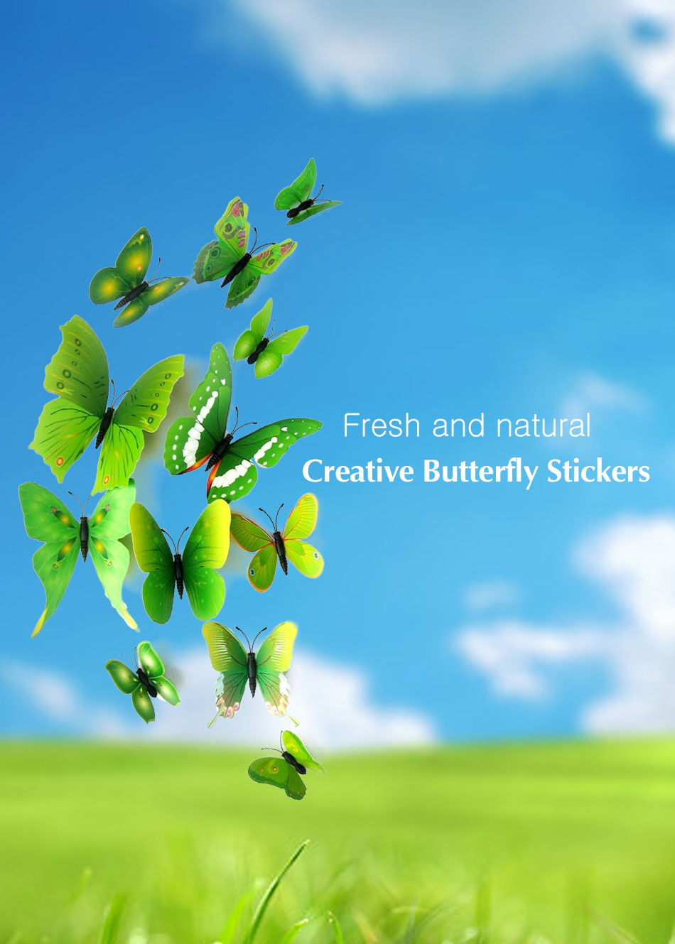 12pcs/set 3D Butterfly Wall Stickers Butterflies Decors For Home  Decoration Paper