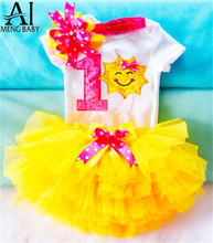 Ai Meng Baby Girl Baptism Clothes Tutu Fluffy Toddler 1st Birthday Party Outfits Infant Clothing Sets Newborn Baby Shower Gift(China)