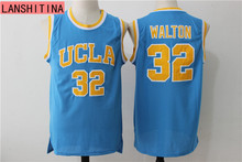 LANSHITINA Bill Walton Jerseys #32 UCLA College Basketball Jersey Blue Vintage Stitched Mens Cheap Basketball Throwback Shirts(China)