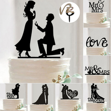 Hot Sale Wedding Decoration Cake Topper Mr Mrs Acrylic Black Romantic Bride Groom For Wedding Cake Topper Party Favors