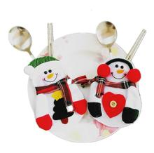 Santa Claus Christmas Tree Holder Bags Fork Spoon Pockets Christmas Decor Snowman Silverware Holders ornaments tables New Year
