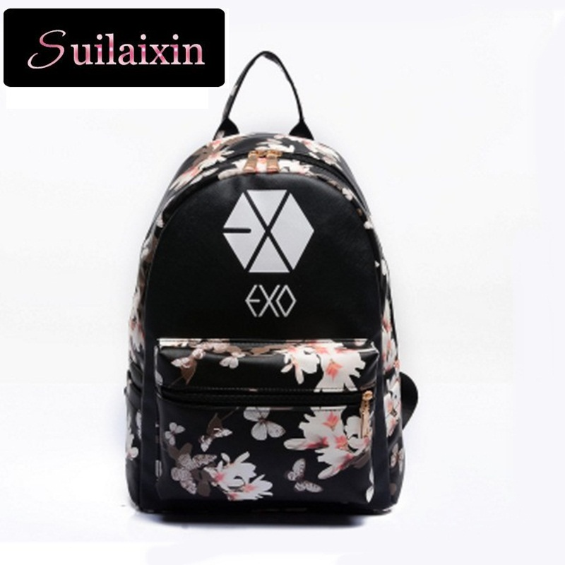 Women Leather EXO School Printing Backpack Preppy Style Small Travel Floral EXO Backpacks For Teenage Girls Bag mochila feminina<br><br>Aliexpress
