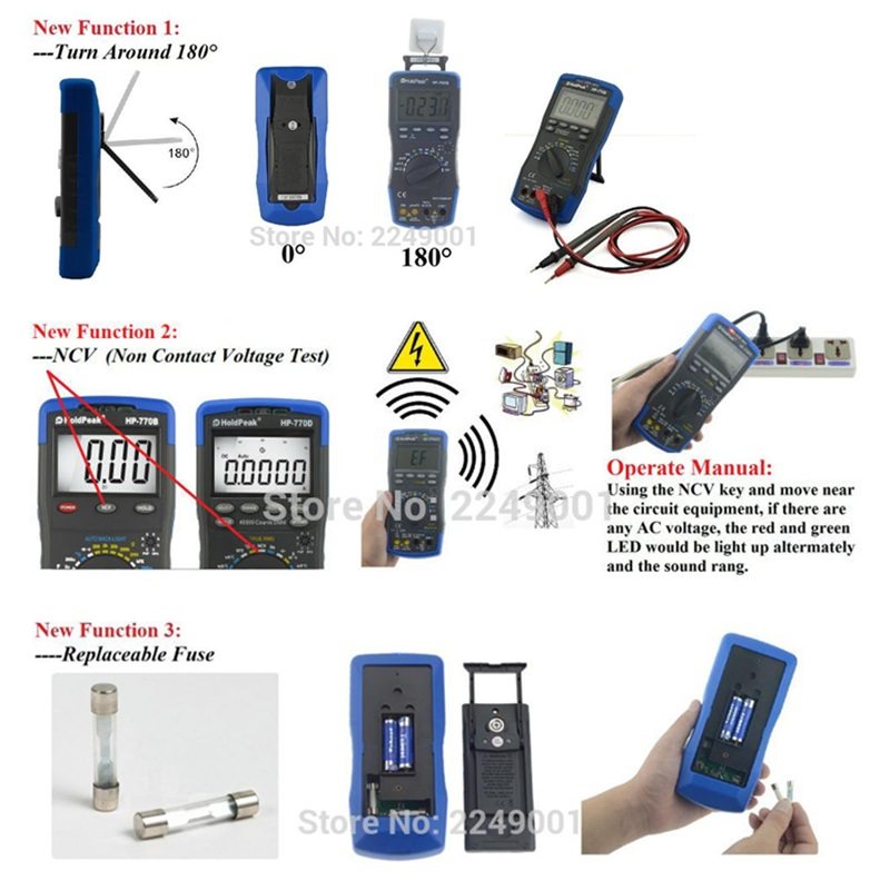 Multimetro HoldPeak Digital Auto Range Multimeter AC DC Voltage Meter Measurement Temperature/ Frequency/ Duty Cycle/ True RMS <br>