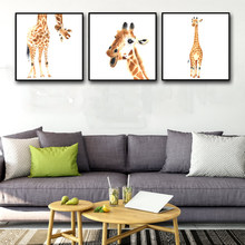 Nordic Cartoon Animal Art Canvas A4 Poster Wall Pictures For Children's Living Room Home Decor Giraffe Painting Wall No Frame