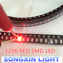 100PCS Free Shipping 1206 red light light-emitting diode SMD LED 3216 Diodes SMD 1206 led 620-625NM 100-120MCD 2,0-2.6V 3.2*1.6(China)