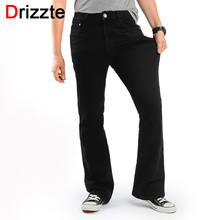 Drizzte Men's Slim Bootcut Stretch Jeans Classic Black Denim Flare Jeans Boot Cut Plus Size 35 36 38 40 42 44 46 for Mens' Jeans(China)
