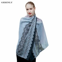 GERINLY Luxury Brand Women Scarf Fashion Lady Floral Lace Scarves Printing Soft Shawls Pashmina Foulard Femme Long Size Bandana(China)