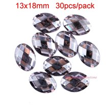 Acrylic Sew On Rhinestones 2 Holes Flat Black  Black Diamond Sewing On Oval Crystal Beads Sew-On Crystals