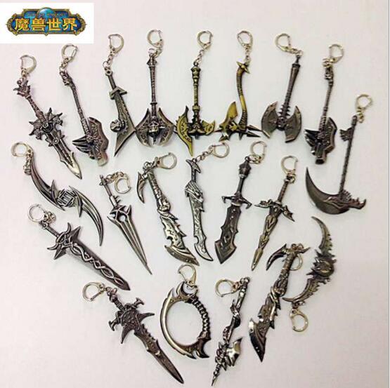 Movie WOW Alliance Figure Weapon Key Chain Sword WOW Keychain Chaveiro Frostmourne illidan Stormrage Warglaive of Azzinoth Blade<br><br>Aliexpress