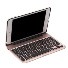 "DHL Tablet Case wireless bluetooth keyboard computer protection For ipad Mini 4 7.9"" 7colour backlit thin metal hollow out style"