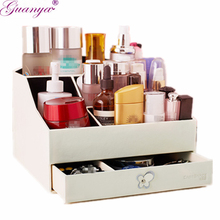 Guanya PU Leather Storage Box Jewelry Container Makeup Organizer Case DIY Assembly Environmental  Cosmetic Box for women gift