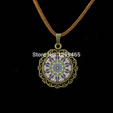 Art Glass Dome jewelry Vintage Neon Pink purple Mandala Leather Necklace Handmade Kaleidoscope Buddhism Mandala Necklace  L 193