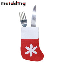 MEIDDING 6pcs/lot  Christmas Snow Santa Claus Knife Fork Holder Tableware Bags Party Dinner Restaurant Table Kitchen Tree Decor