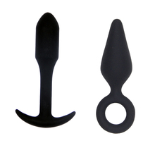 Buy 2PCS Sexy Black Silicone Anal Plug Massage Adult Sex Toys Women Man Gay Anal Butt Plug Set Anal Plugs Vibrador Sex Products
